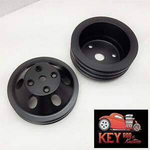 Small Block Chevy Black Aluminum Pulley Set Sbc Long Pump Lwp 2 3 Groove Crank