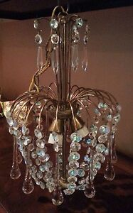 French Vintage Crystal Glass Pendants Drops Chandelier From France