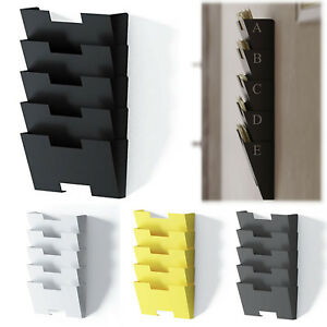Wall File Holder Rack Storage Organizer 5 Sectional Folder Steel Pockets Sy