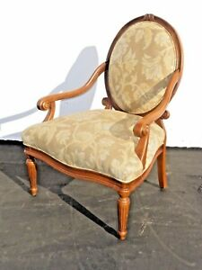 Designer Sam Moore Pair Vintage French Round Back Floral Design Arm Chair