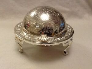 White Metal Revolving Butter Caviar Dish With Glass Liner