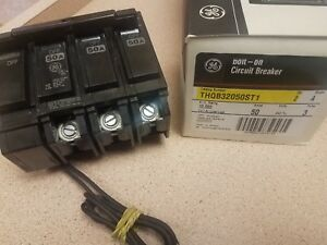 New Ge Thqb32050st1 Circuit Breaker 3 Pole 50 Amp W 120v To 240v Shunt Trip