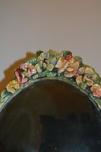 Antique Large Oval Beveled Barabola Mirror W Easel Spectacular 20910