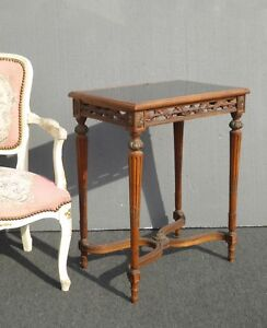 Antique French Louis Xvi Side Entry Table Ornately Carved W Smokey Glass Top