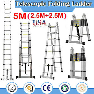 A frame Telescopic Folding Ladder Stepladder 5m 16 5ft Aluminum150kg Maxload Us