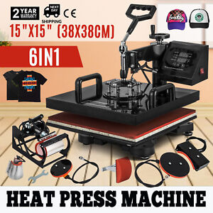 6 In 1 Heat Press Machine Transfer 15 x15 Alarm T shirt Hat Digital Control