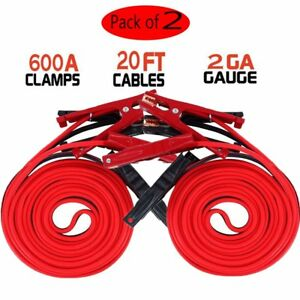 2x Set Of Jumper Cables 20ft 2gauge Booster Emergency Battery Trucks Cars Motors