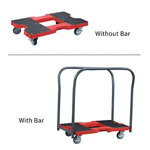Panel Cart Dolly Red With Lock Wheel 1500lbs Capacity Steel Frame Strap Trolley