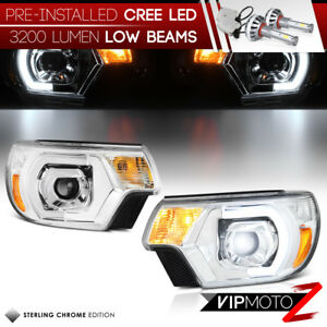 Cree Led Bulb Installed 12 15 Toyota Tacoma Chrome Drl Tube Projector Headlight