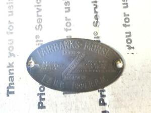 Original Fairbanks Morse 2 Hp Z Hit Miss Engine Brass Serial Name Tag Good Shape