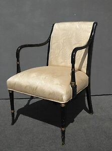 Vintage French Provincial Floral Silk Blend Black Gold Gilt Accent Chair
