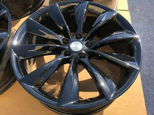 4 Genuine Black Tesla Model S Turbine 21 Wheels Rims Oem Factory Rare