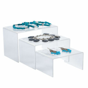 6 Sets Of 3 Nested Acrylic Risers Displays Clear Retail Jewelry Display Showcase