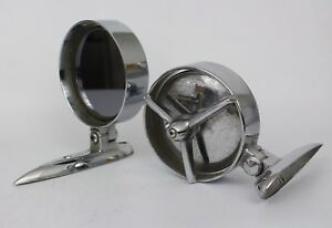 Set Of 1950s 60s Yankee Metal Products Corp Chrome Mirrors For Fenders Or Doors