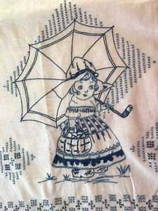 Blue Dutch Girl Hand Embroidered On Cotton Piece Antique Fragment Excel Cond
