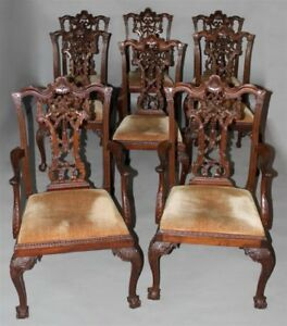 Fabulous Set Of Eight Chippendale Style Ribbon Back Dining Chairs 1890