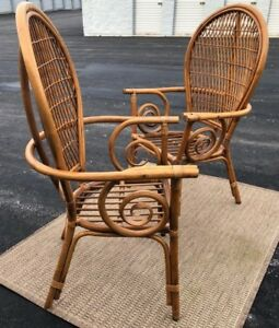Rattan Balloon Back Ficks Reed Dining Chairs Rattan Bamboo