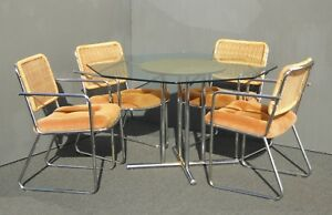 Vintage Mid Century Dining Set Table Four Chrome Rattan Orange Velvet Chairs
