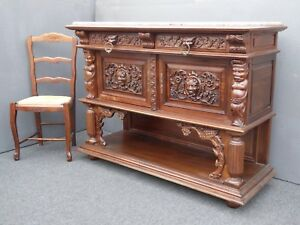 Vintage French Renaissance Ornately Carved Marble Sideboard Buffet Indonesian