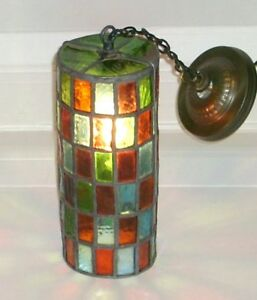 Old Antique Multi Color Stained Leaded Glass Porch Foyer Ceiling Hanging Light