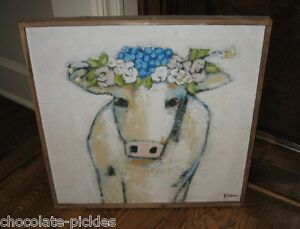 Big Canvas Cow Picture Blues Wood Frame Primitive French Country Farmhouse Decor