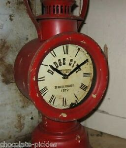 20 Big Red Western Railroad Lantern Table Desk Clock Dodge City Train Station