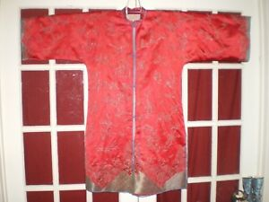 Rare Antique Chinese Red Silk Jacket Robe Couched Embroidered Silver Design Sz