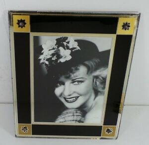 1930 S Reverse Painted Art Deco Glass Picture Frame Black Gold 11 X 13 Ginger
