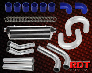 2 5 Chrome Blue Turbo Charger Intercooler Piping Kit Clamp Couplers Universal