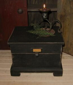 Big Primitive Wood Table Top Recipe Box Spice Mail Candle Desk Organizer Black