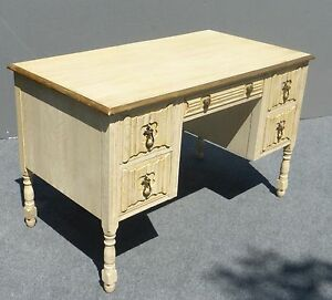 Vintage French Provincial Five Drawer Writing Desk Off White Gold Gilt