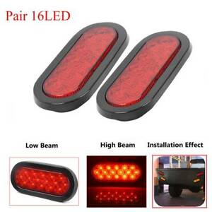 2x 6 Inch Led Trailer Truck Lights Oval Stopturn Tail Marine Tail Light