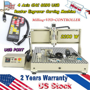 4 Axis Cnc 6090 Usb Router Engraver Carving Machine 3d Milling 2200w Spindle Vfd