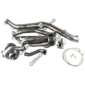Gt35 Turbo Manifold Downpipe Kit For Bmw E46 M52 Engine Na T Top Mount