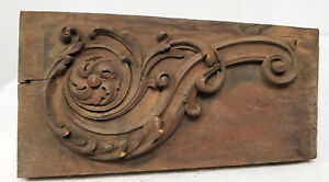 Antique Architectural Frament Carved Wood Panel Scroll Sample Decorative