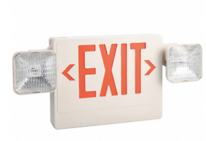 Lumapro Exit Sign With Emergency Lights 6cgl7