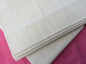 Unused Pair Vintage French Sheets Linen Metis Classic Satin Stich Hem 220cm Wide