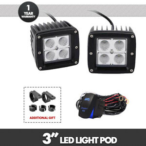 2x 3inch 16w Cree Led Work Light Flood Cube Pods Off Road For Boat Atv Lamp
