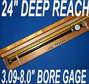 24 Depth 5 Standard Dial Bore Gage 3 09 8 0 Complete With All Extensions