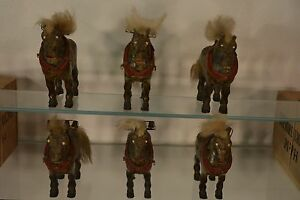 Handcrafted Americana Folkart Antique Wooden Horses With Bells 6 Family Set