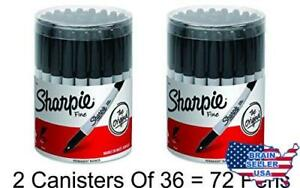 2 X Sharpie Permanent Markers Fine Point Black Box Of 36 New Free Ship