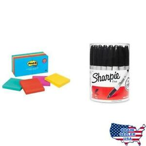 Sharpie Fine Point Permanent Marker Black canister With 36 Pens And Post it N