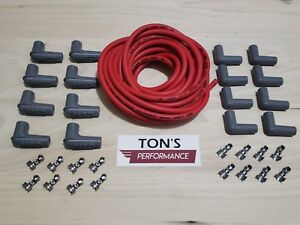 Universal Msd Super Conductor 8 5mm Red Spark Plug Wire Hei V8 Boots Terminals