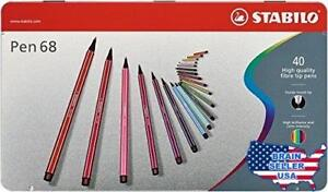 Stabilo 68 Metal Tin Fineliner Pens Set Of 40 Multicolored 098841 New