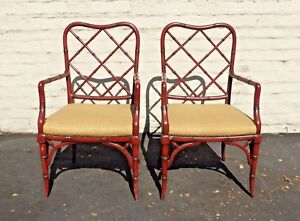 Vintage Pair Of Chinese Chippendale Faux Bamboo Carved Wood Arm Chairs