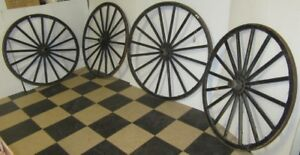 Antique Buggy Wagon Wheel Set Wood Spokes Steel Iron Inner Housing Outer Area