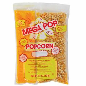 Popcorn Kit 8 Oz 24 Ct Kernels Mega Pop Popcorn Concession Theater Style