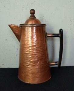Antique Arts Crafts Mission Hammered Copper Coffee Pot W Brass Solder Joints