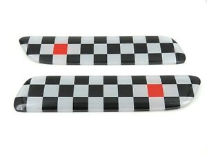 Genuine New Fiat Red Black White Chequered Side Badge Set For 500 500c