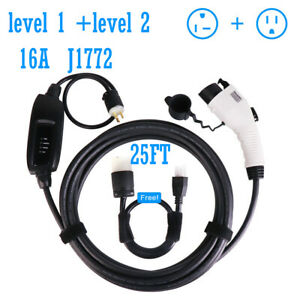 Electric Vehicle Charger Ev Charging Cable Cord 240v 16a 25ft J1772 5 15 Level2